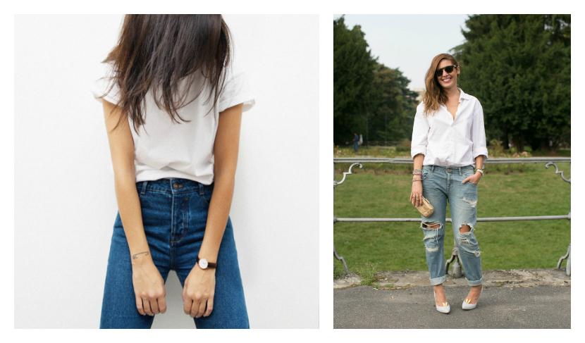 White Shirt Denim Jeans