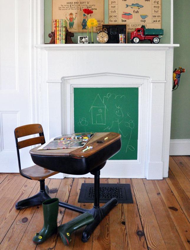 Chalkboard for Kids fireplace