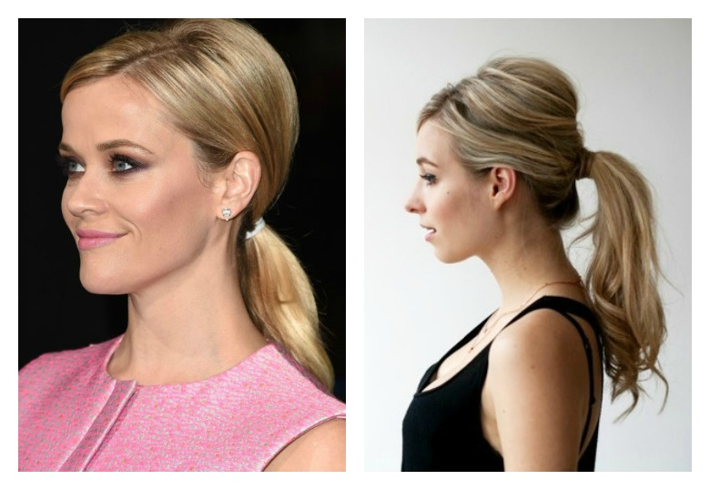 style a ponytail : high up