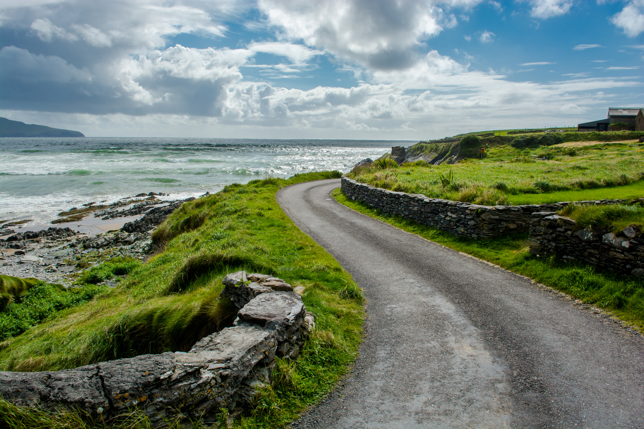 Narrow Coastal Road in Ireland