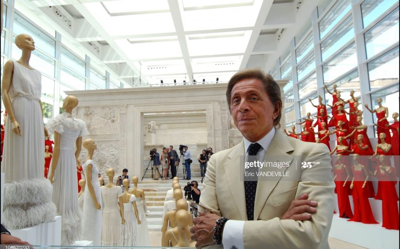 """ITALY - JULY 06:  Italian fashion designer Valentino celebrates 45 years of activity :exhibition at the Ara Pacis Museum in Rome. Rome rolled out the red carpet to welcome back Valentino Garavani, decking out a historic museum with his sweeping gowns. """"I am filled with emotion,"""" Valentino said at the opening of his retrospective in the modern, marble-and-glass venue designed by the American architect Richard Meier.The exhibit, set up by Patrick Kinmonth and Antonio Monfreda, includes more than 200 outfits, as well as shoes and accessories. One room is lined with dresses worn by famous clients, each accompanied by a video showing when and how the dress was worn.Valentino Garavani in Rome, Italy on July 06, 2007  (Photo by Eric VANDEVILLE/Gamma-Rapho via Getty Images)"""
