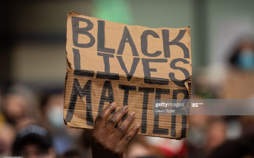SEATTLE, WA - JUNE 14: Black Lives Matter protesters rally at Westlake Park before marching through the downtown area on June 14, 2020 in Seattle, United States. Black Lives Matter events continue daily in the Seattle area in the wake of the death of George Floyd. (Photo by David Ryder/Getty Images)